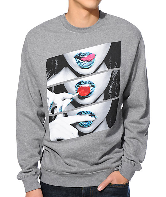Popular Demand Candy Lips Heather Grey Crew Neck Sweatshirt