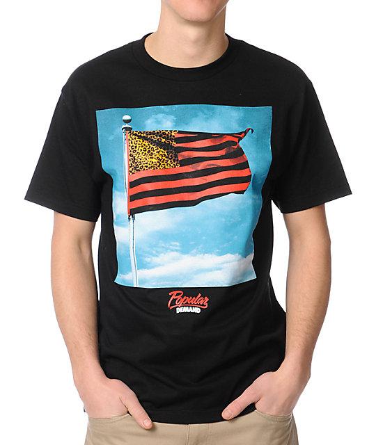 Popular Demand Wave Flag Black T-Shirt