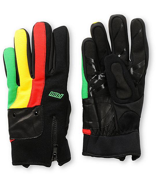 Pow Barker Rasta Snowboard Gloves