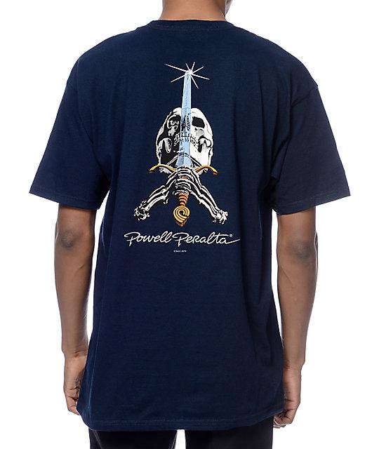 Powell Skull And Swords Navy T-Shirt