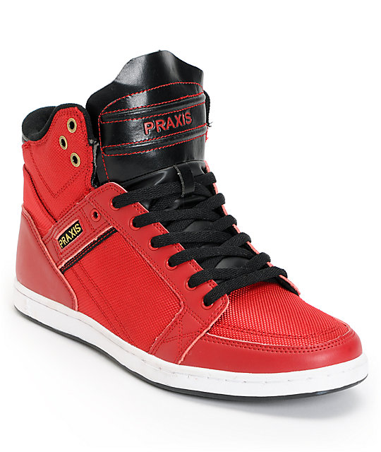 Praxis Balance Red High Top Skate Shoes