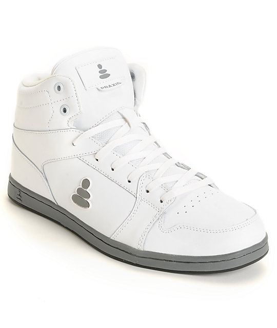 Praxis Elemental White High Top Skate Shoes