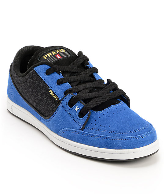 Praxis Geo Blue & Black Suede Skate Shoes