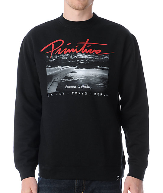 Primitive Above The Clouds Black Crew Neck Sweatshirt