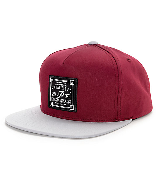 Primitive Authentic Skate Patch Burgundy & Grey Snapback Hat