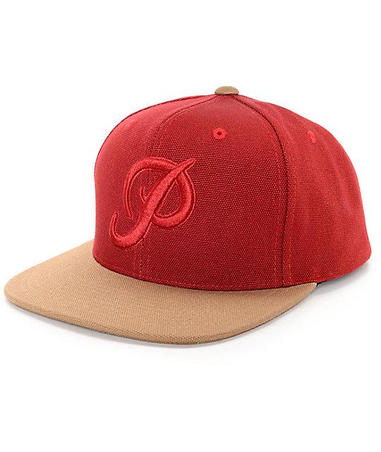 Primitive Classic P Canvas Red Snapback Hat