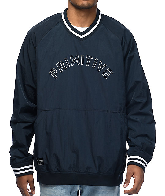 Primitive Creped Warm-Up Navy Pullover Windbreaker Jacket at ...