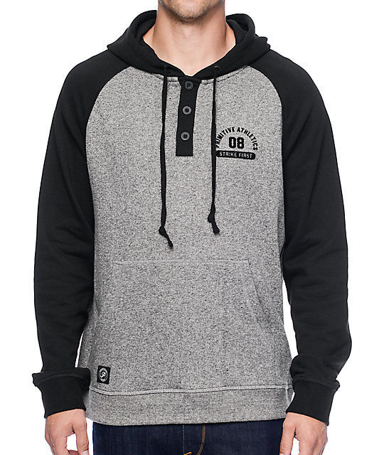 Primitive Founded Black & Grey Henley Hoodie at Zumiez : PDP