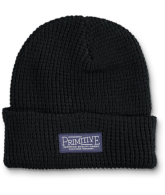 Primitive High Country Black Waffle Beanie