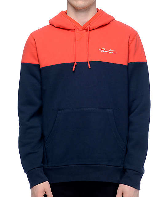 Primitive Nuevo Navy & Red Blocked Pullover Hoodie | Zumiez