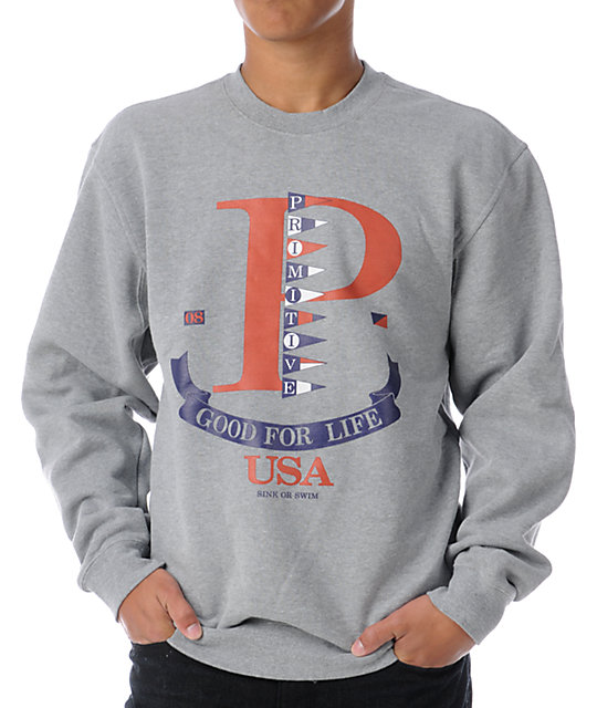 Primitive Ocean View Heather Grey Crew Neck Sweatshirt