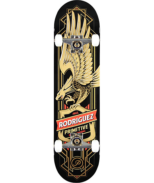 "Primitive Paul Rodriguez Gold Eagle 7.87"" Skateboard Complete"