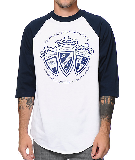 Primitive Royalty White & Royal Blue Raglan Baseball T-Shirt