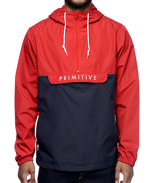 Primitive Staten Red &amp Navy Anorak Windbreaker Jacket at Zumiez : PDP