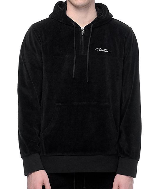 Primitive Velour Quarter Zip Black Pullover Hoodie | Zumiez