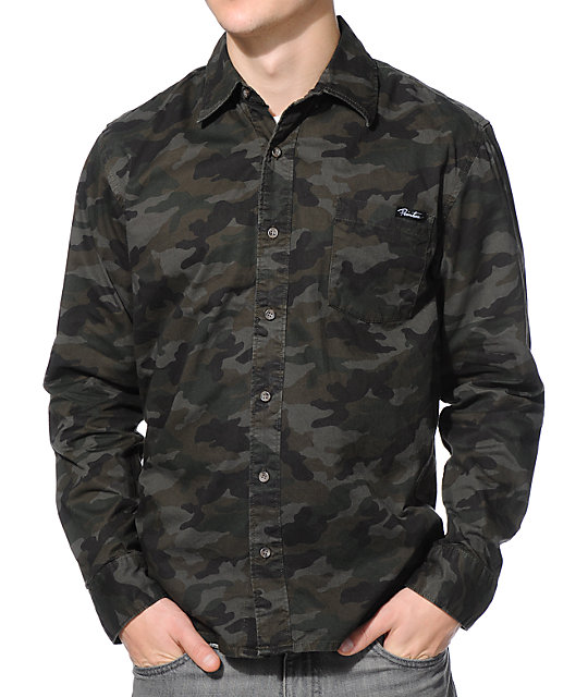 Primitive Ventura Olive Camo Button Up Shirt At Zumiez Pdp