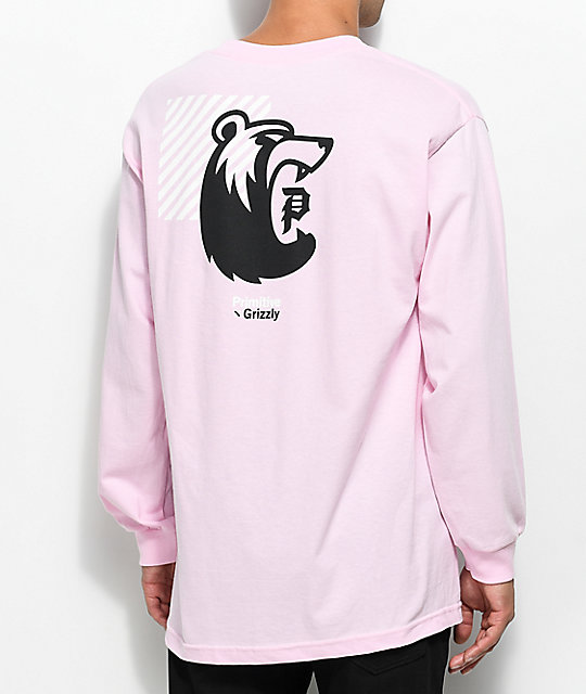 Primitive X Grizzly Bearhaus Pink Long Sleeve T-Shirt
