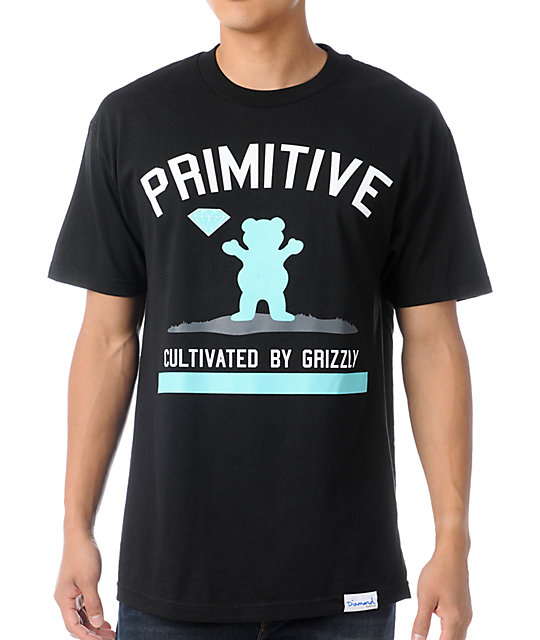 Primitive x Grizzly x Diamond Cultivated Black T-Shirt