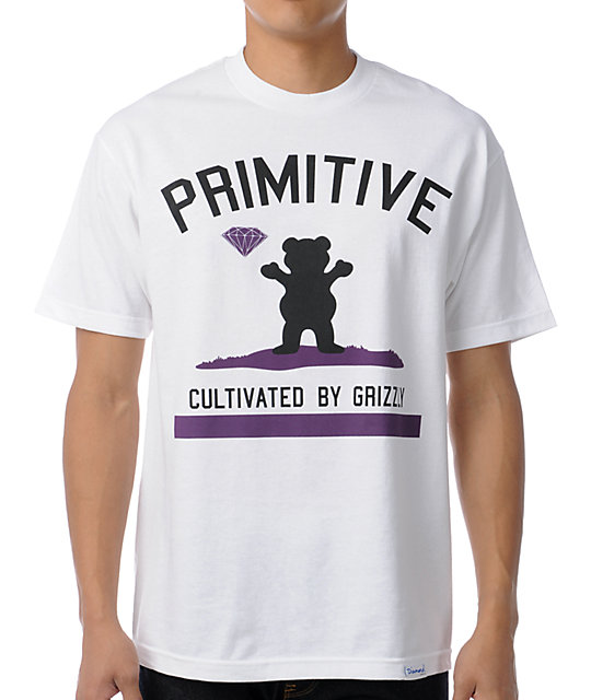 Primitive x Grizzly x Diamond Cultivated White T-Shirt