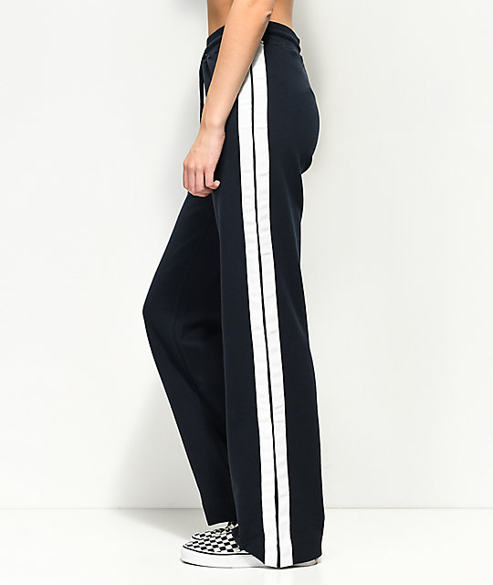Publish Tammy Navy & White Wide Leg Track Pants