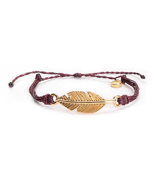 Pura Vida Leaf Burgundy Bracelet