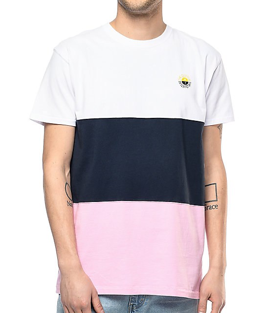 Life Solar White, Navy & Pink Color Blocked T-Shirt