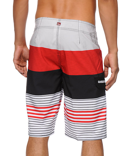Quiksilver Clean And Mean Red & White Stripe Board Shorts