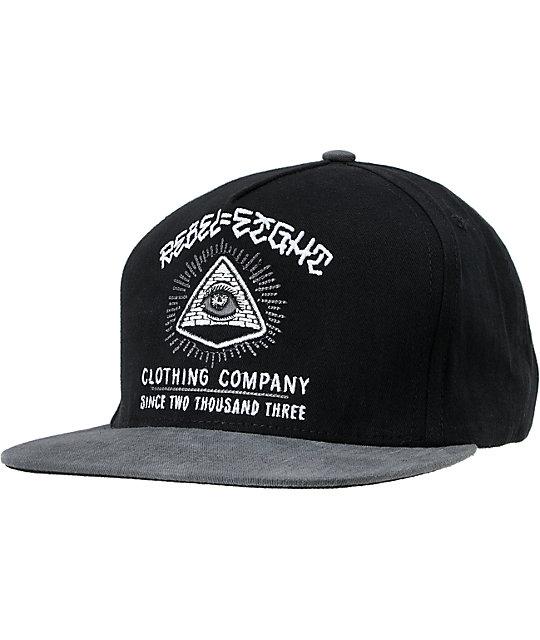 REBEL8 1984 Grey & Black Snapback Hat