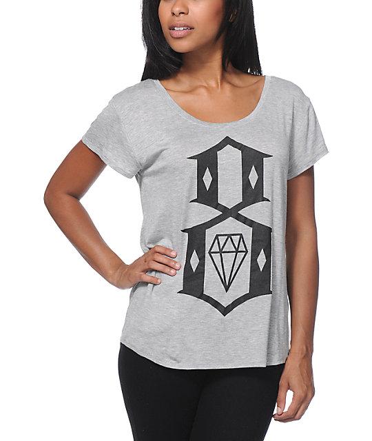 Rebel8 8 Logo Heather Grey Boyfriend Fit T Shirt At Zumiez
