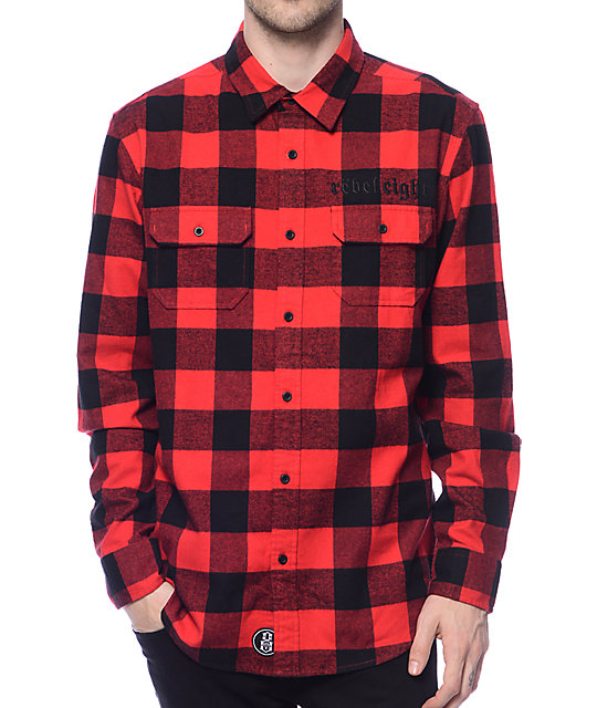 rebel8 bill red black flannel shirt