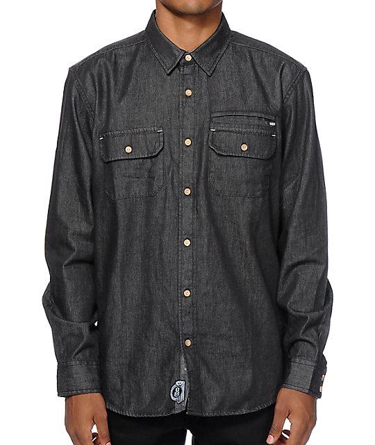rebel8 black denim button up shirt