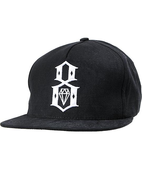 REBEL8 Brim Logo Black Snapback Hat