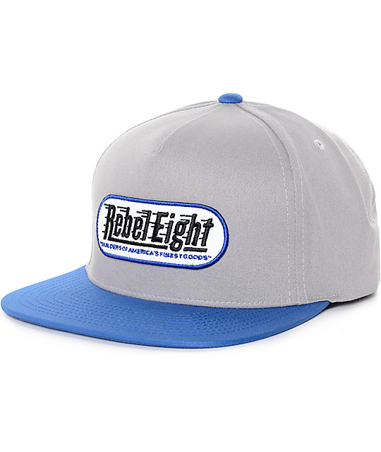 REBEL8 Calling Shots Light Grey & Blue Snapback Hat