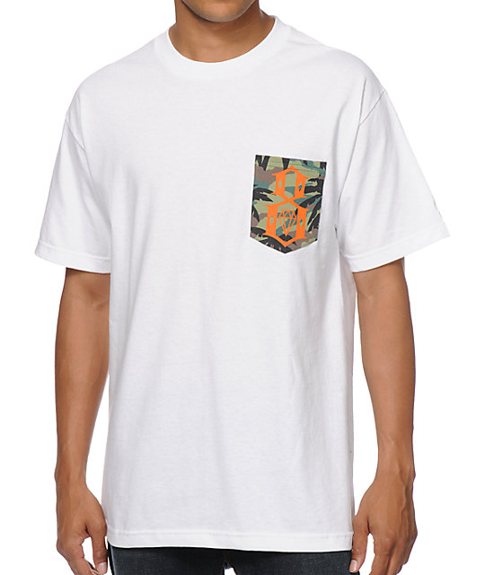 REBEL8 Camo Logo White Pocket T-Shirt