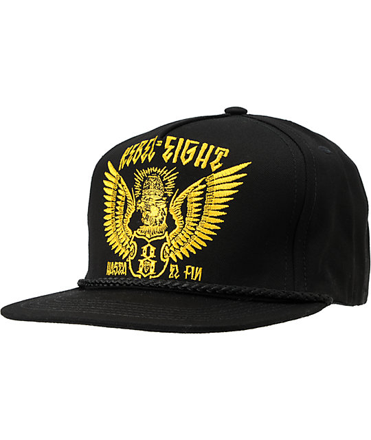 REBEL8 Darwin Black Snapback Hat