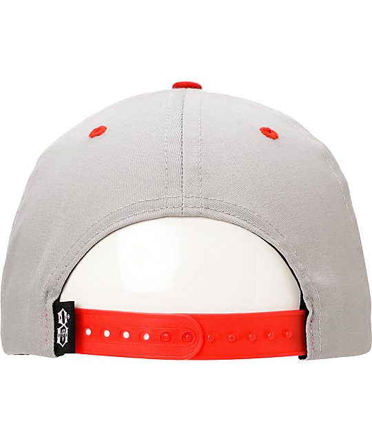 REBEL8 Eagle Eye Grey & Red Snapback Hat