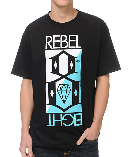 REBEL8 Flip Black T-Shirt