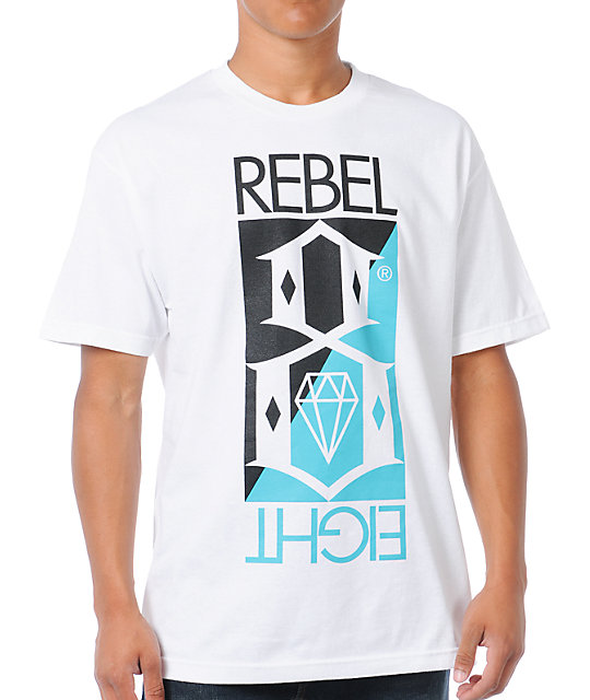 REBEL8 Flip White T-Shirt