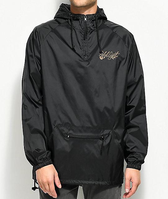 REBEL8 Floret Embroidered Black Anorak Jacket