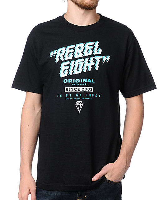 REBEL8 Lightning Strikes Black T-Shirt