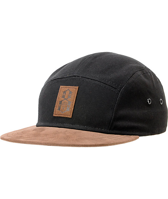 REBEL8 Logo Black & Brown 5 Panel Hat