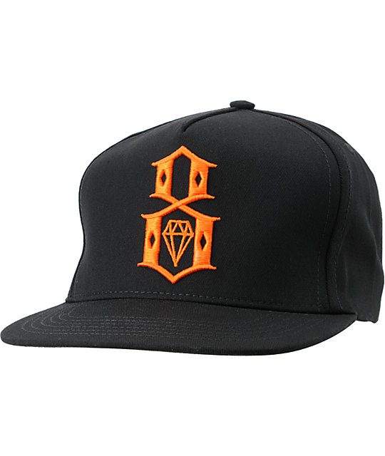 REBEL8 Logo Black & Orange Snapback Hat