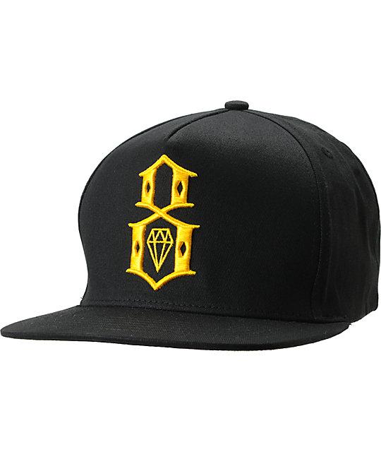 REBEL8 Logo Black & Yellow Snapback Hat