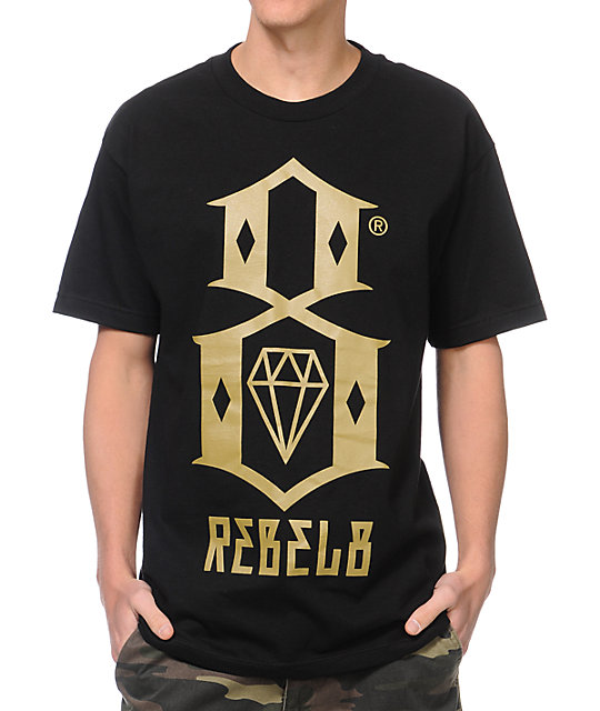 REBEL8 Logo Black & Gold T-Shirt at Zumiez : PDP