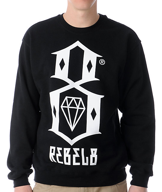 REBEL8 Logo Black Crew Neck Sweatshirt