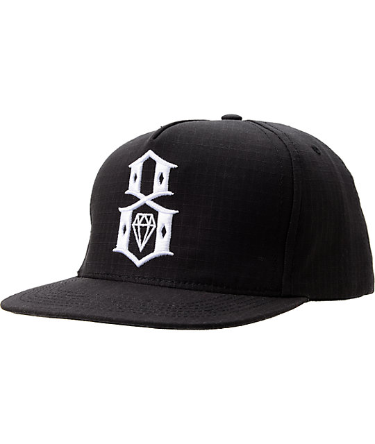 REBEL8 Logo Black Ripstop Snapback Hat