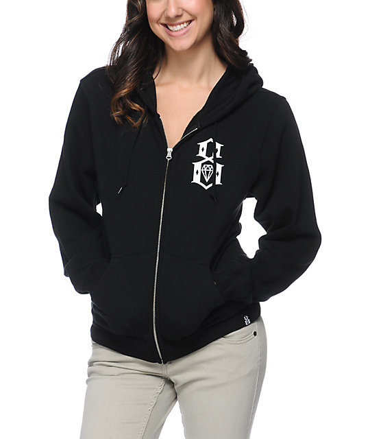 REBEL8 Logo Black Zip Up Hoodie