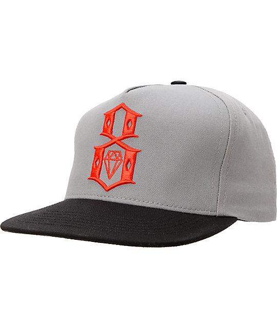 REBEL8 Logo Grey, Red, & Black Snapback Hat