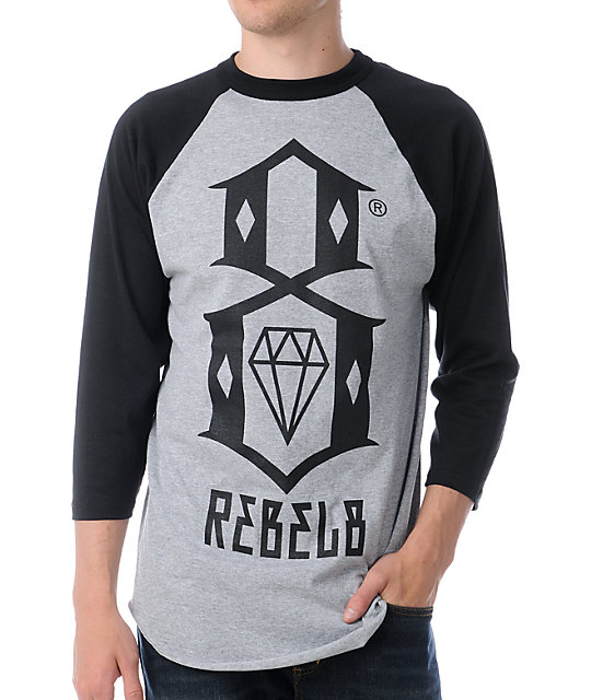 REBEL8 Logo Grey & Black Baseball T-Shirt