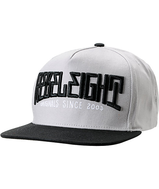 REBEL8 Mighty Grey & Black Snapback Hat